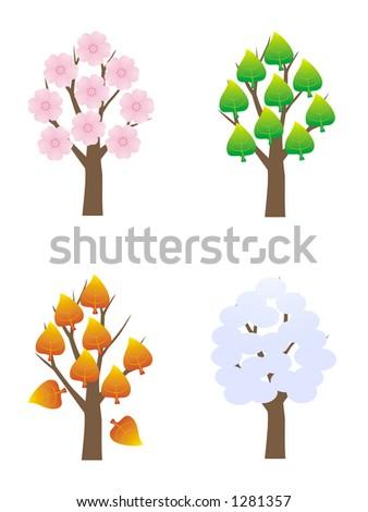 four seasons tree - stock vector