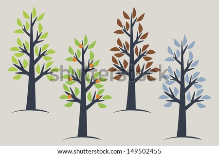 Four seasons tree collection - stock vector
