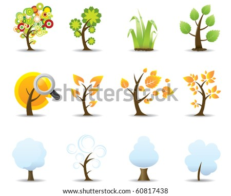 Four Seasons Tree Icons Set - stock vector