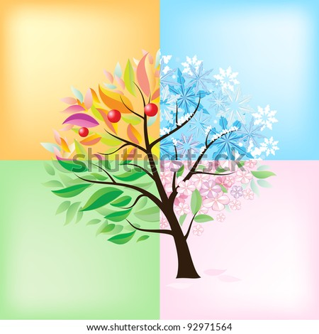 Four Seasons Tree. Illustration on white background - stock vector