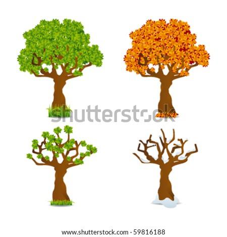 four seasons trees - stock vector