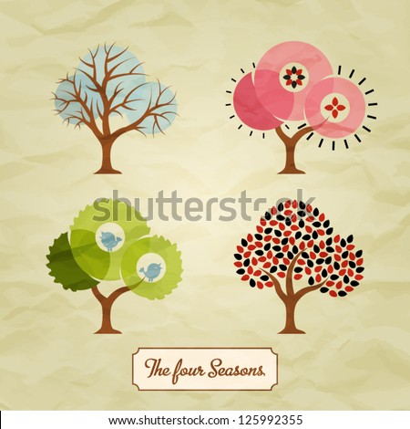 Four Seasons Trees Background Illustration - stock vector