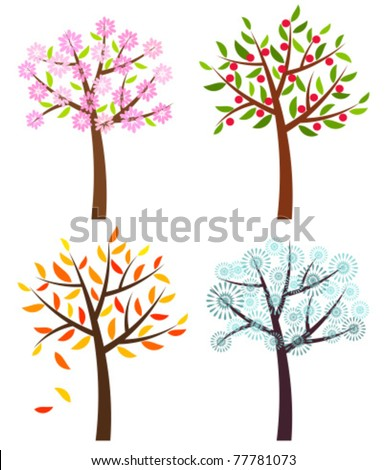 Four seasons trees: spring, summer, autumn and winter . Vector illustration