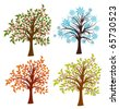 Four seasons trees, vector illustration - stock vector