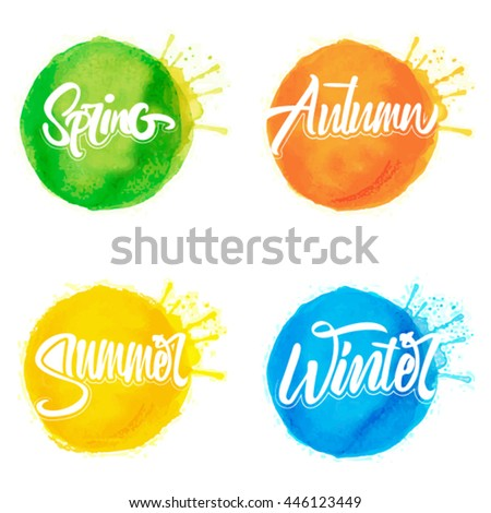 Four Seasons Typographic Banner. Vector 1