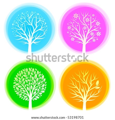 Four seasons vector trees - stock vector
