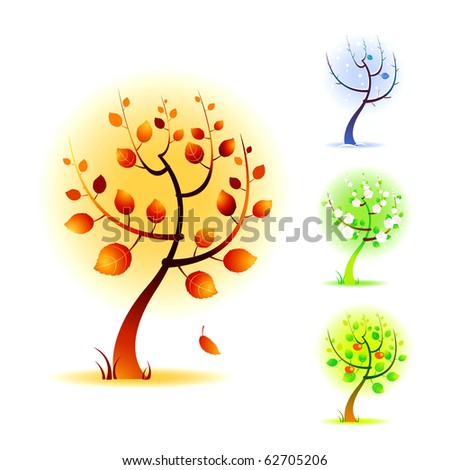 Four seasons vector trees illustrations.