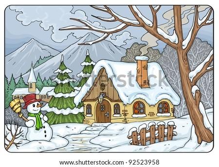 Four Seasons - Winter Landscape - stock vector