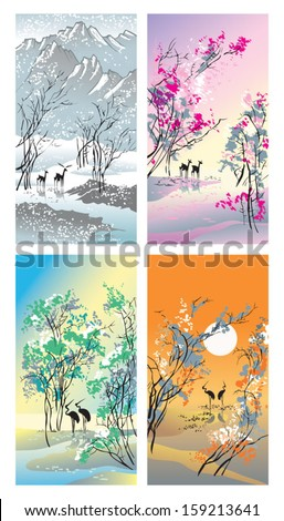 Four seasons: winter, spring, summer and autumn, hand-drawing picture in Chinese traditional painting style, vector illustration - stock vector