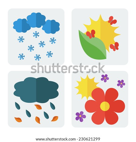 Four seasons - winter, spring, summer, autumn. Set of icons in flat style. Vector illustration - stock vector
