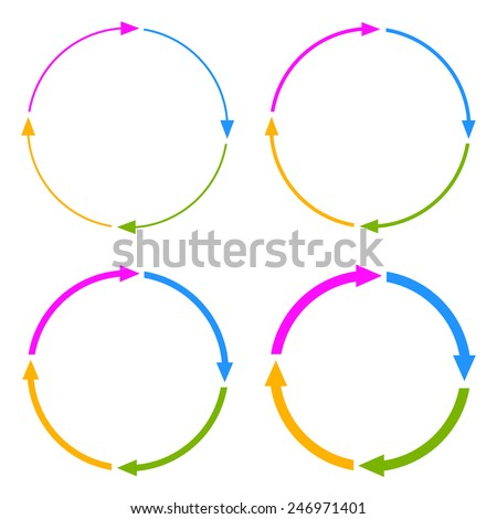 Four segments arrow circle - stock vector