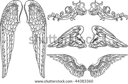 Four Sets of Detailed Angel Wings - stock vector