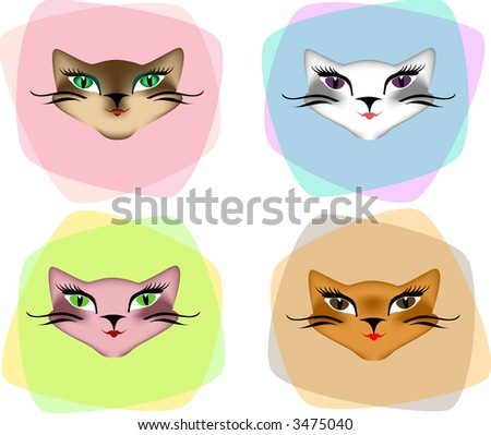 Four sexy cat faces; different gradients applied for variation. - stock vector