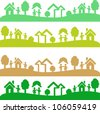 Four shots with ecology elements - stock vector