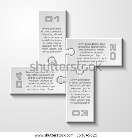 Four sided 3d puzzle presentation infographic template with explanatory text field for business statistics. Vector illustration - stock vector