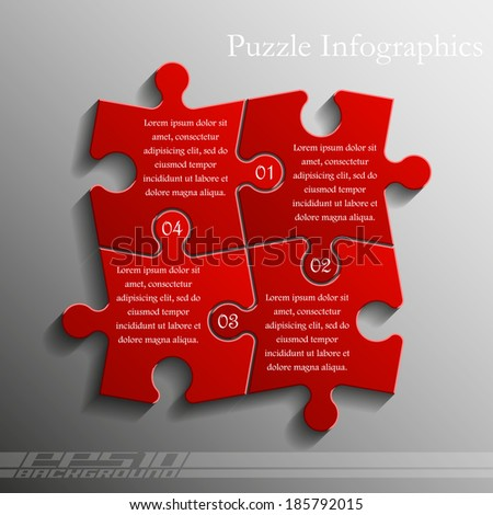 Four sided puzzle presentation. puzzle infographic, puzzle icon illustration, puzzle icon picture, puzzle icon flat, puzzle web icon, puzzle icon art, puzzle icon drawing, puzzle icon, puzzle template - stock vector