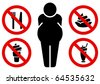 Four signs prohibiting sweet and fat man sign. - stock photo