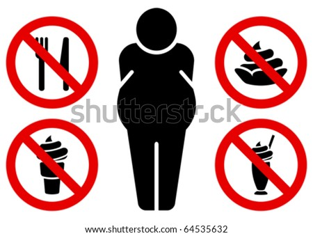 Four signs prohibiting sweet and fat man sign. - stock vector