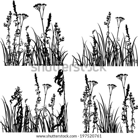 Four silhouettes  of flowers and grass