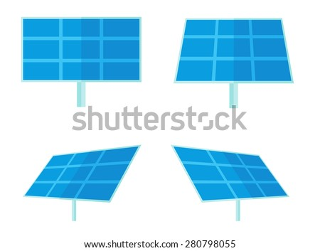 Four solar panels for alternative energy generation. A Contemporary style. Vector flat design illustration isolated white background. Square layout - stock vector