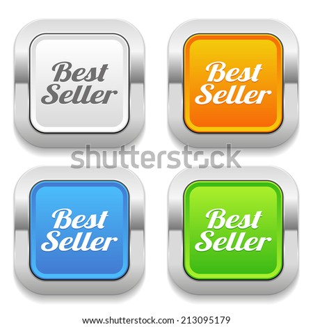 Four square button with different colors and best seller text