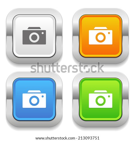 Four square button with different colors and camera icon - stock vector