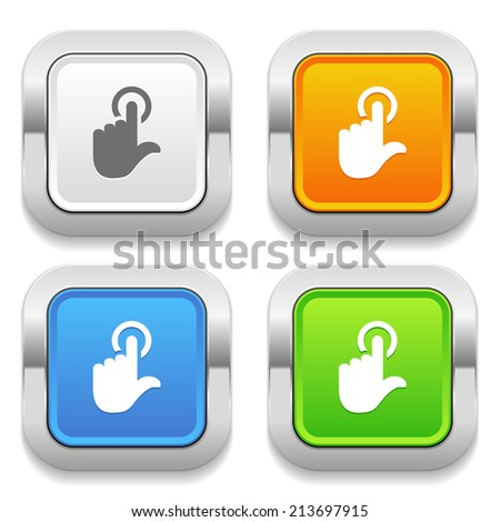 Four square button with different colors and touch icon - stock vector