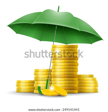 Four stacks of golden coins under an green umbrella - stock vector