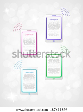 four steps infographics with phones or tablets on gray gradient background - stock vector