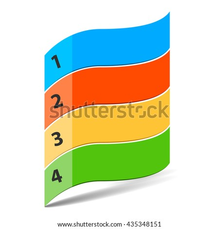 Four steps timeline objects. Wavy flag shape with numbers. Place for customer text. Shadow below objects. Vector illustration.