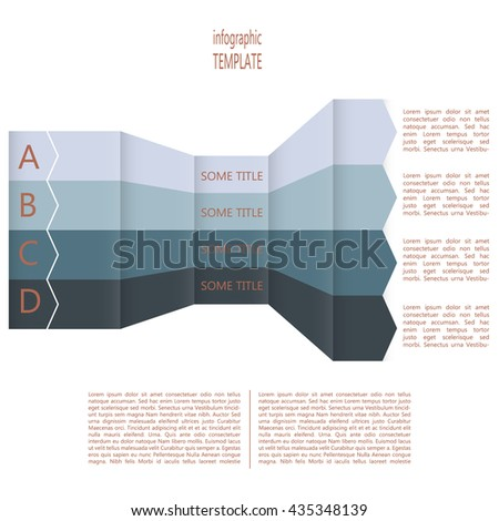 Four steps timeline perspective diagram. Four folded arrows in four colors. Place for text within shape and outside of shape. Vector illustration. - stock vector