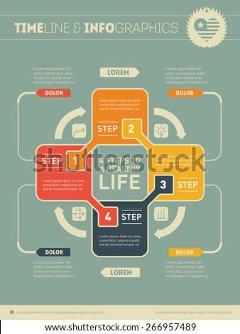 Four steps to a healthy life. Web Template for circle diagram or presentation with logo. Concept of recreation with 4 options. Vector infographic of education process.