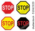 Four stop road sign with color variation ideal icon sets - stock vector