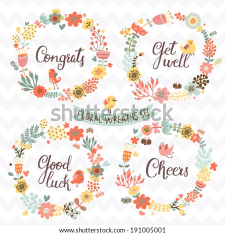 Four stylish floral design elements with modern text. Gentle floral cards with vintage flowers and cartoon birds in summer colors - stock vector