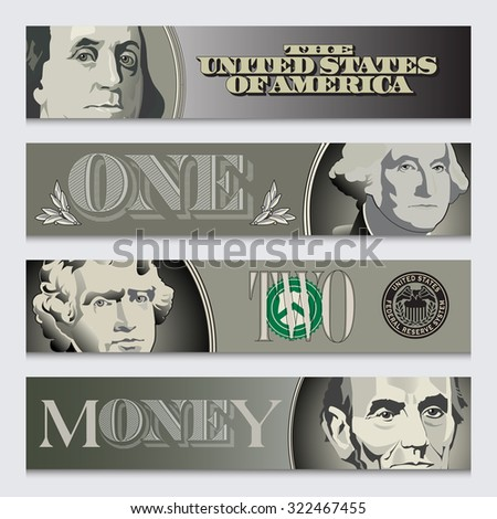 Four stylized money banners - stock vector