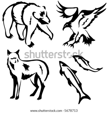 Four stylized vector animal illustrations