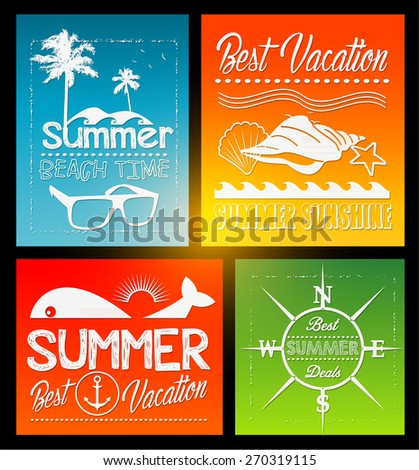 four Summer vector text typography vintage poster isolated from background - stock vector