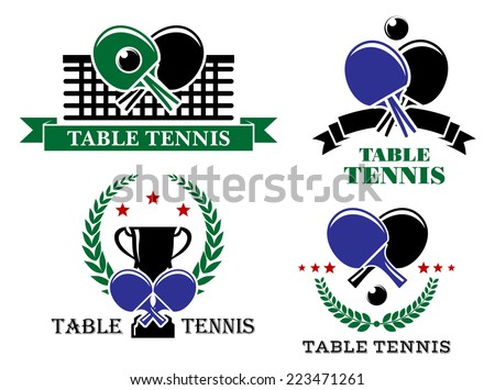 Four Table Tennis emblems or badges with crossed bats and one with a net, one a trophy and wreath, one a ribbon banner and one stars and a wreath, all with text Table Tennis. Vector illustration - stock vector