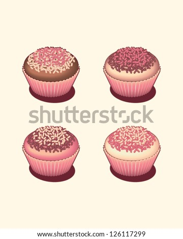Four tasty cupcakes isolated - stock vector