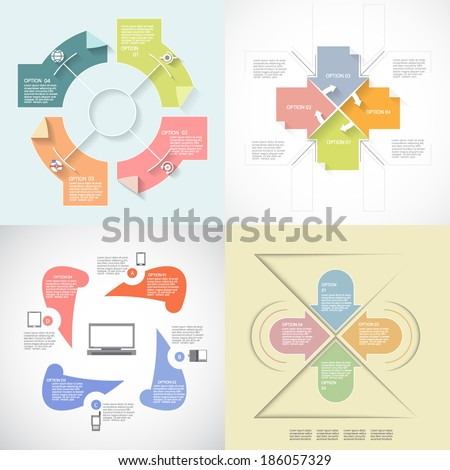Four templates for your project - stock vector