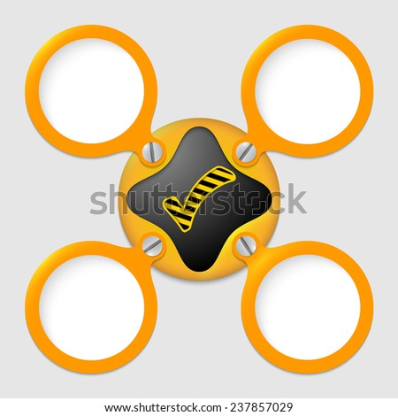 four text boxes with screws and check box - stock vector