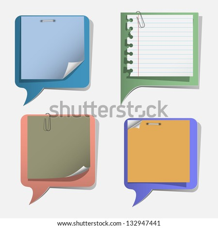 Four torn paper speech bubbles.Vector set - stock vector