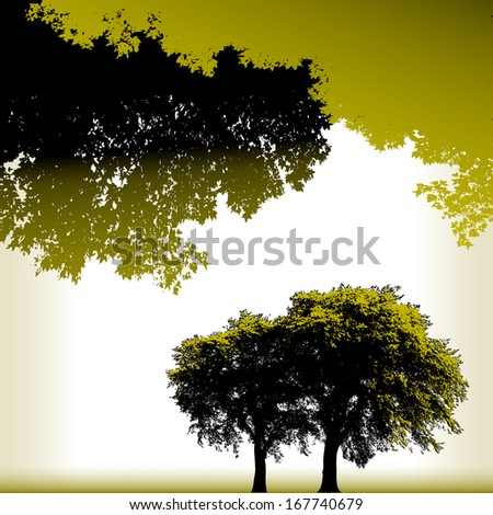 Four Tree Landscape Vector background for web or print use  - stock vector
