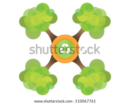 Four tree with recycle symbol - stock vector