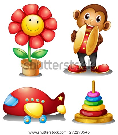 Four type of classic toys for young children - stock vector