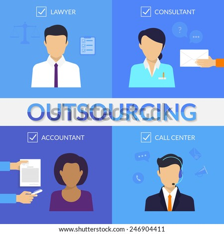 Four types of outsoursing for business start-up. Lawer, consultant, accountant, call center operator - stock vector