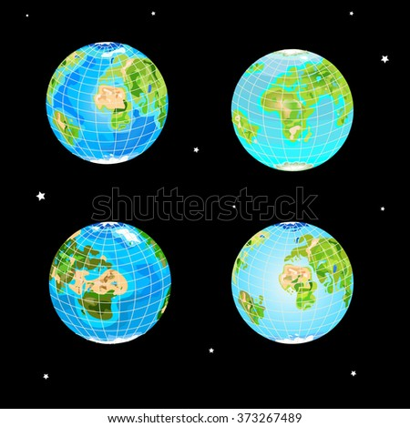 four types of the globe for design - stock vector