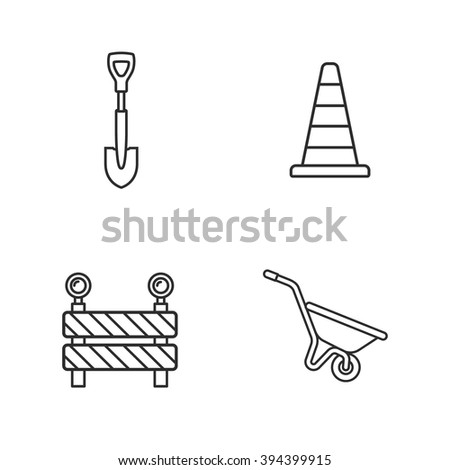 four under construction icons - stock vector