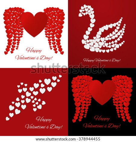 Four Valentine Day greeting cards. Vector illustration of love holiday backgrounds. - stock vector