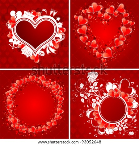 Four Valentine's Day Poster with Hearts, Cupid and holiday element for design, vector illustration - stock vector